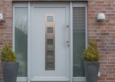 Haustüre Aluminium Klinkerfassade