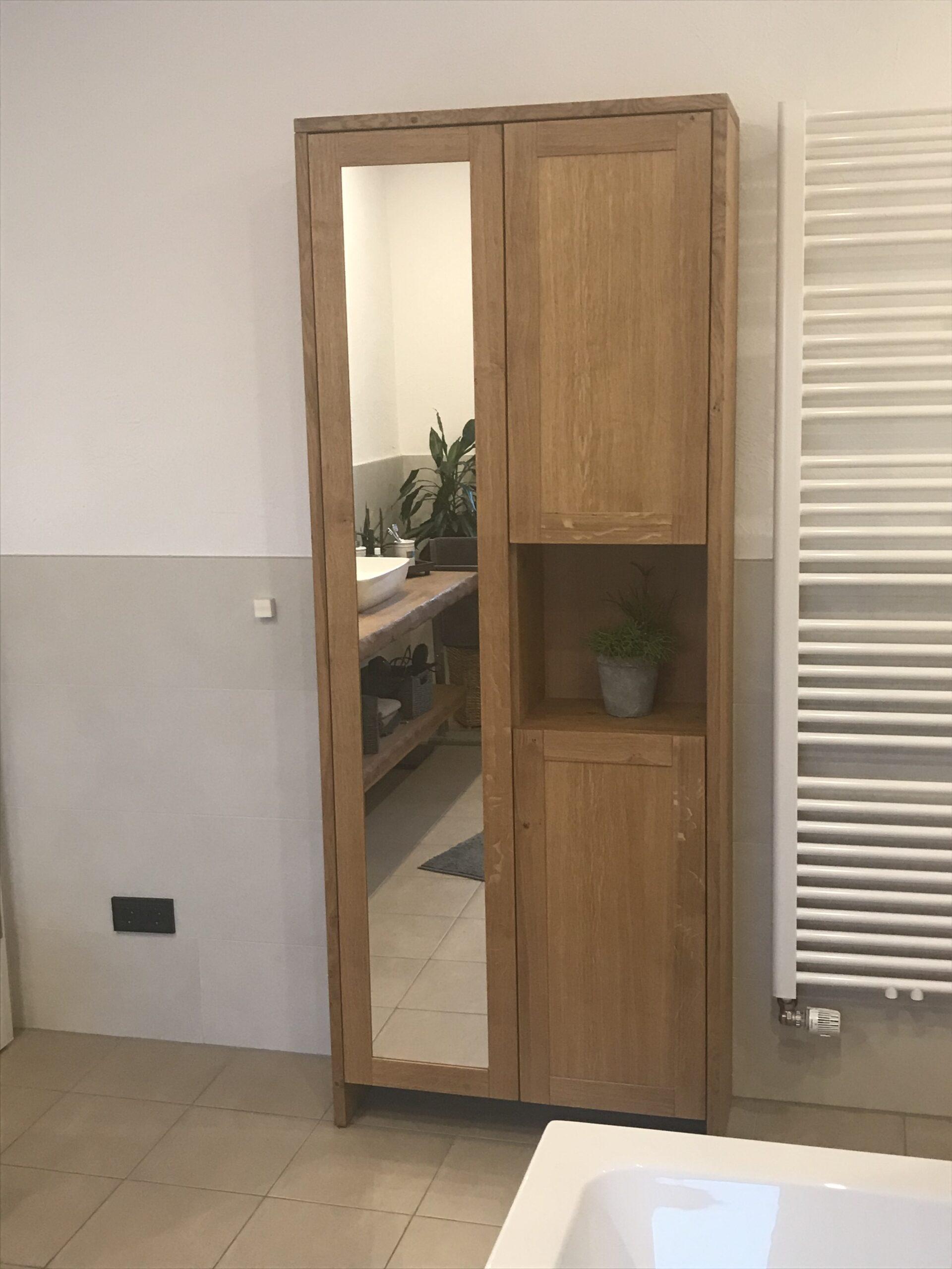 Badezimmerschrank Eiche mit Spiegel